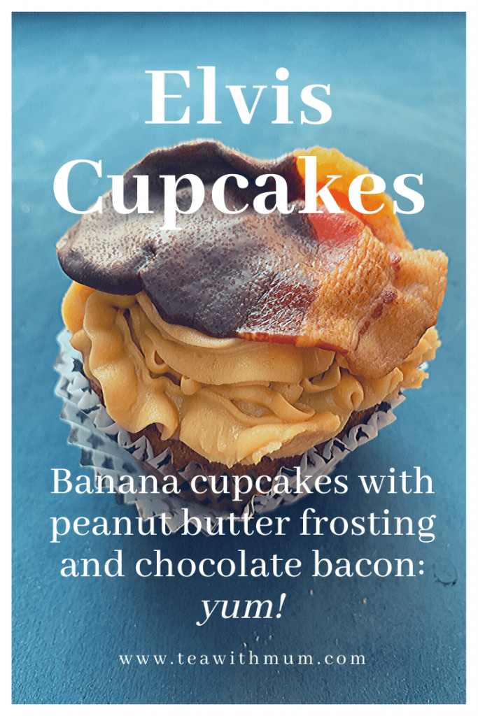 Elvis cupcakes: Dad's banana cupcakes with creamy peanut butter frosting and chocolate-dipped bacon. Our homage to Elvis Presley and his favourite sandwich. Yum!