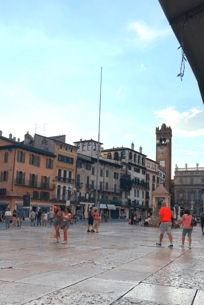What to do in Verona with kids: go shopping and watch the passing parade at Piazza delle Erbe; what to do in the north of Italy with kids