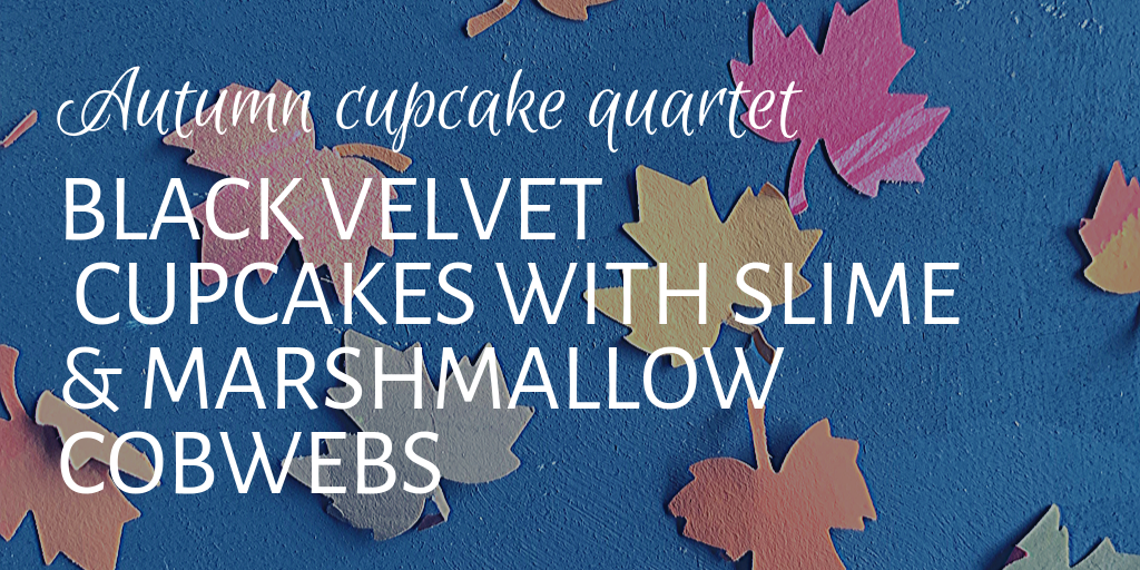 Black velvet cupcakes with slime and marshmallow cobwebs