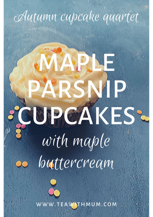 Maple parsnip cupcakes with maple buttercream: Autumn cupcake quartet; cupcake with sprinkles
