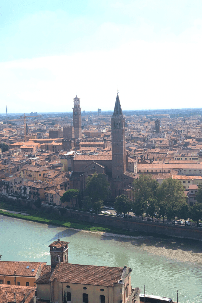 What to do in Verona with kids: the view from Castel San Pietro; what to do in the north of Italy with kids