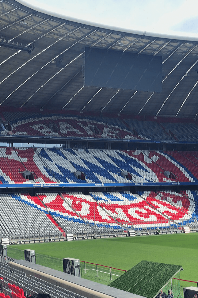 Inside the Allianz Arena, home of FC Bayern München, during a behind-the-scenes stadium tour.