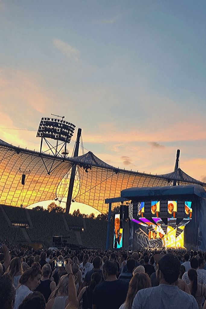 Sunset over Olympia Stadium during an Ed Sheehan concert