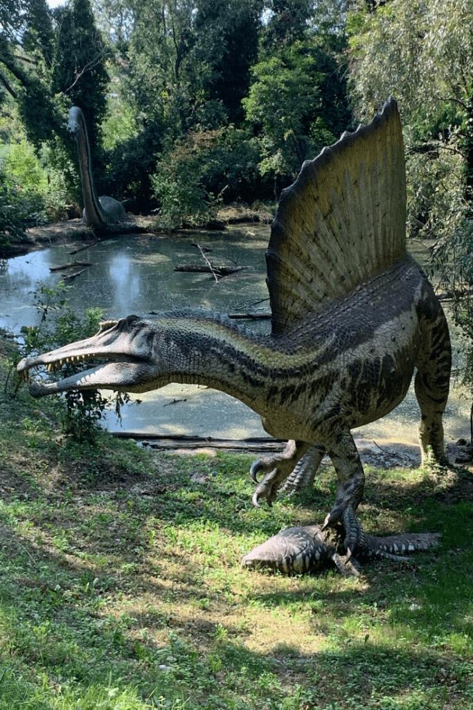 Spinosaurus, part of the Extinct theme area at Parco Natura Viva: little dinosaur aficionado