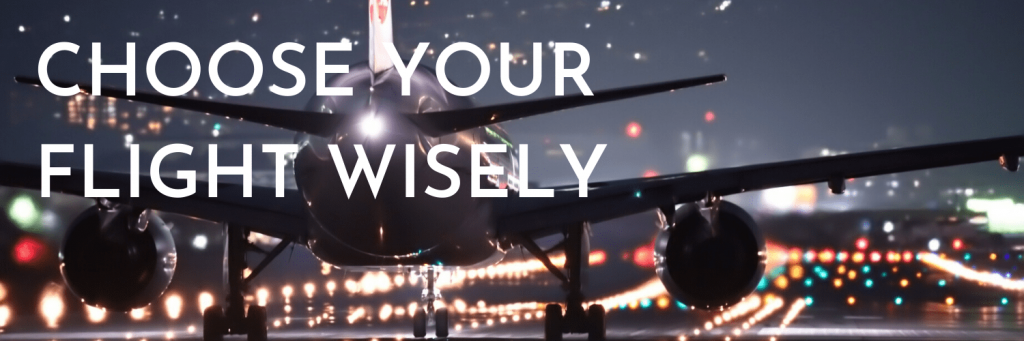 Our first tip when travelling for the holidays: Choose your flights wisely. Price is definitely not the only thing you should consider when choosing your flights. Three other factors can help make flying for the holidays smoother. Picture of plane on runway in the evening; canva stock photo