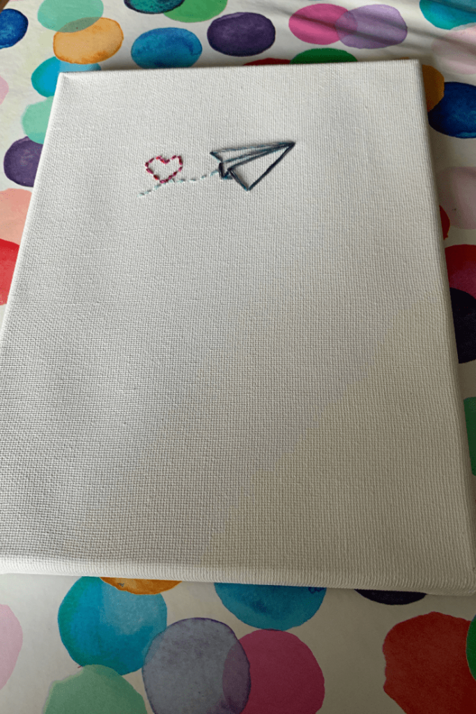 Paper plane embroidered canvas artwork; a simple and effective DIY; Take any simple line image and turn it into an embroidered canvas; DIY Christmas gift; perfect gifts for travellers