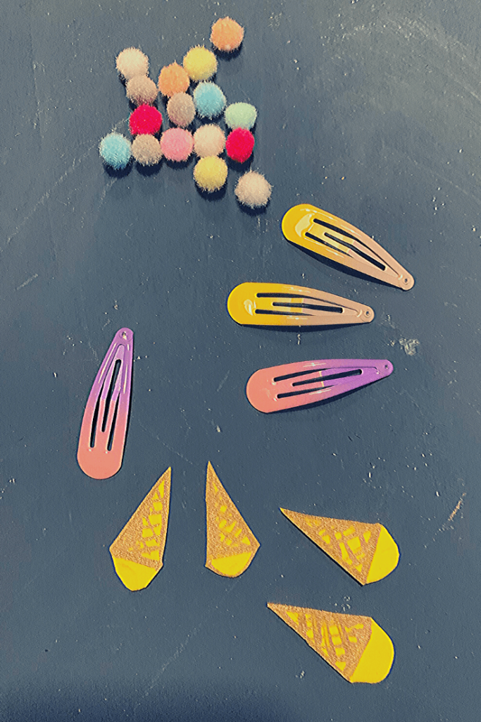 Steps 1 & 2: cut out cone shape and decorate to look like a cone; how to make these DIY ice cream hair clips