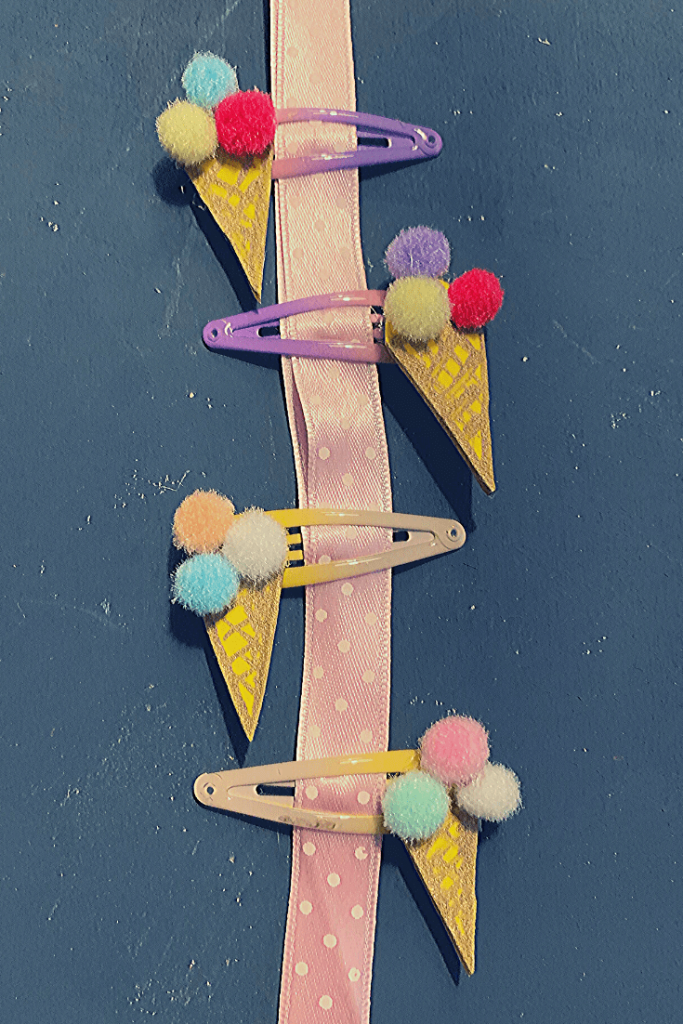 How to wrap the DIY ice cream hair clips;  clip them to a piece of ribbon; a simple DIY Christmas stocking stuffer for a young girl