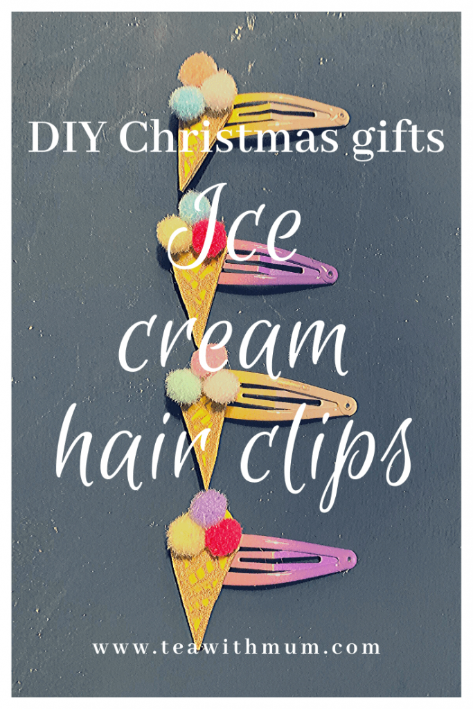 DIY ice cream hair clips; DIY stocking stuffers and holiday gifts; a simple, quick and fun DIY for a young girl; Christmas stocking stuffers, advent gifts and holiday fun