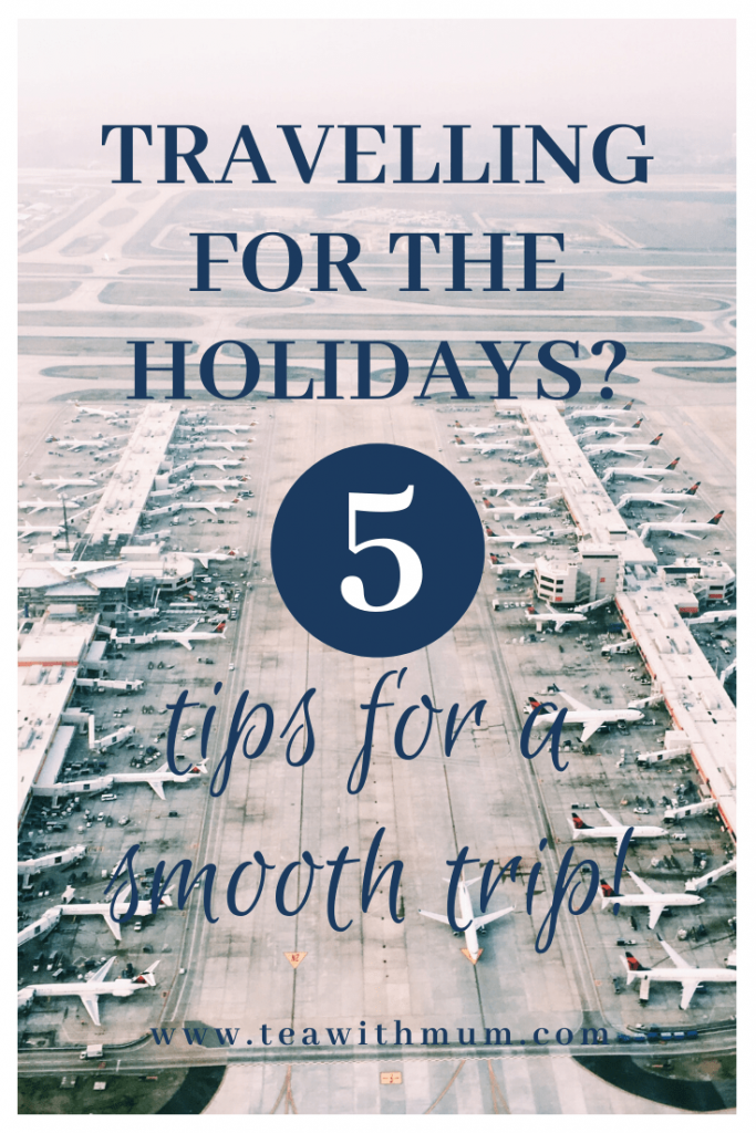 Travelling for the holidays? For these 5 tips for a smooth trip! 1. Choose your flights wisely. 2. Leave early for the airport. 3. Pack smartly. 4. Pack some creature comforts. 5. Pack your patience. Image of an airpot with airplanes at gates; photo by Skyler Smith on Unsplash.