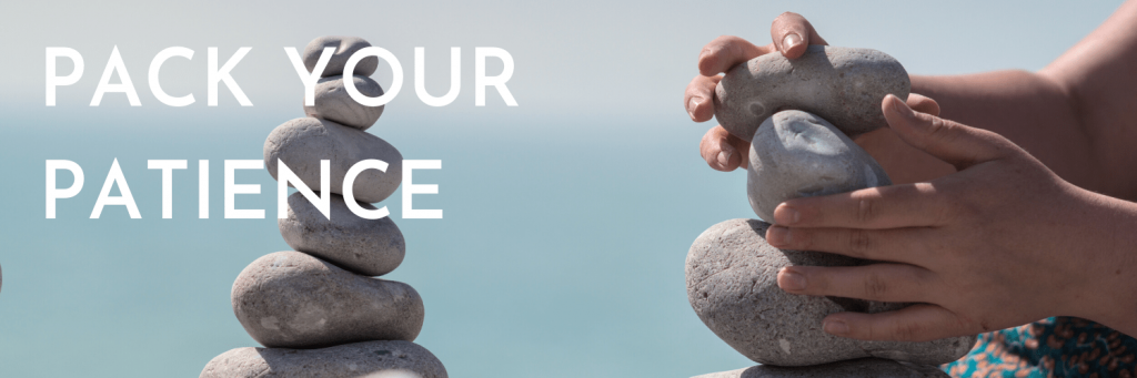 Our fifth tip when travelling for the holidays: Pack your patience. Travelling for the holidays is stressful for all. Keep your cool and do what you can to stay patient, despite any delays; picture of rock balancing near the sea; Canva stockphoto