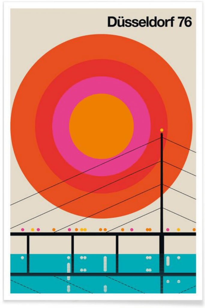 Vintage Düsseldorf artwork by Bo Lundberg; some artwork - particularly a great vintage print - can be a great reminder of a fantastic trip; great travel gifts for the home