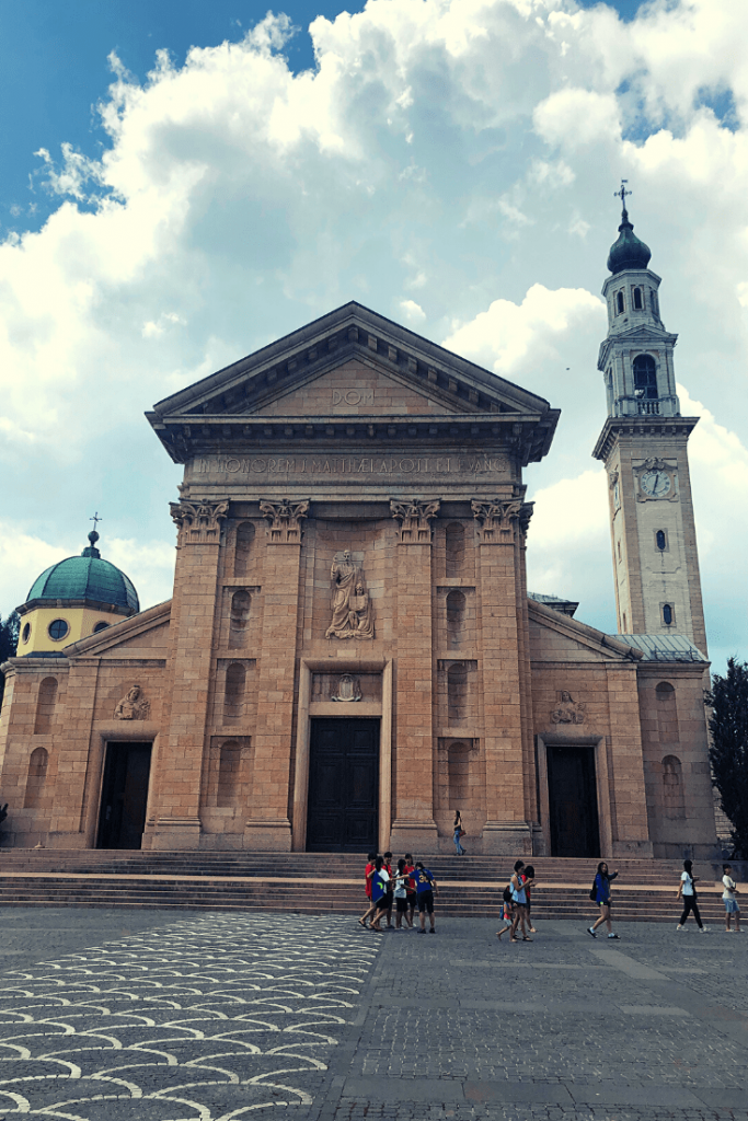 The Duomo di San Matteo, on of the sights to see in Asiago. It is the landscape and views that make Asiago one of the best smaller towns to visit in the north of Italy.
