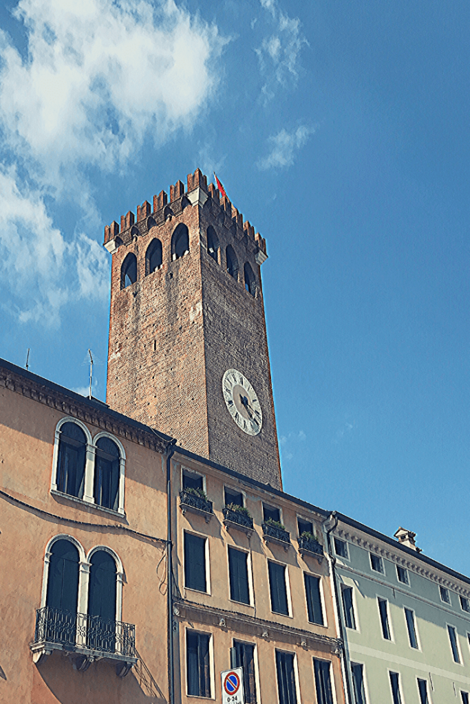 The Torre Civica on Piazza Libertà in Bassano di Grappa in the north of Italy