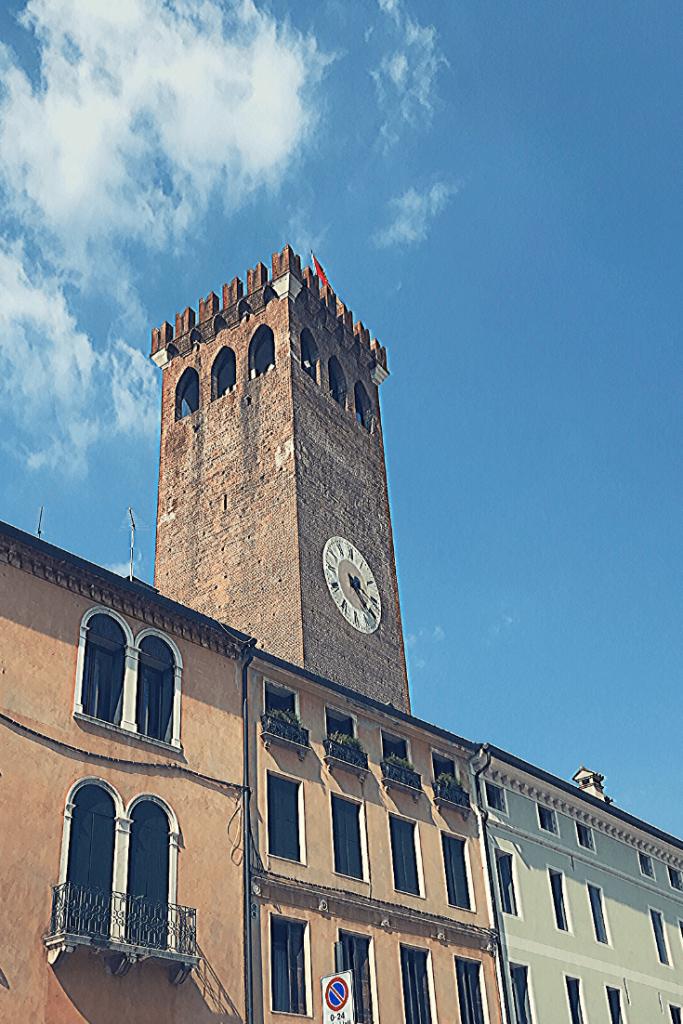 The Torre Civica on Piazza Libertà in Bassano di Grappa in the north of Italy