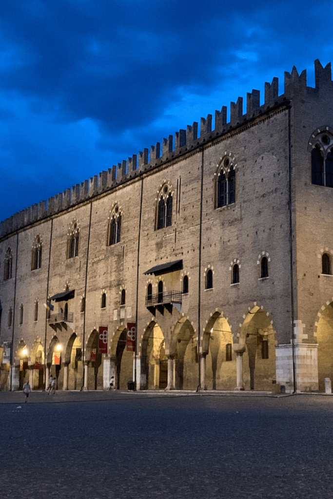 The huge Ducal Palace in Mantua or Palazzo Ducale di Mantova; built between the 14th and 17th centuries by the Gonzaga family; one of the sights to see in Mantua; the best small Italian towns to visit in the north of Italy