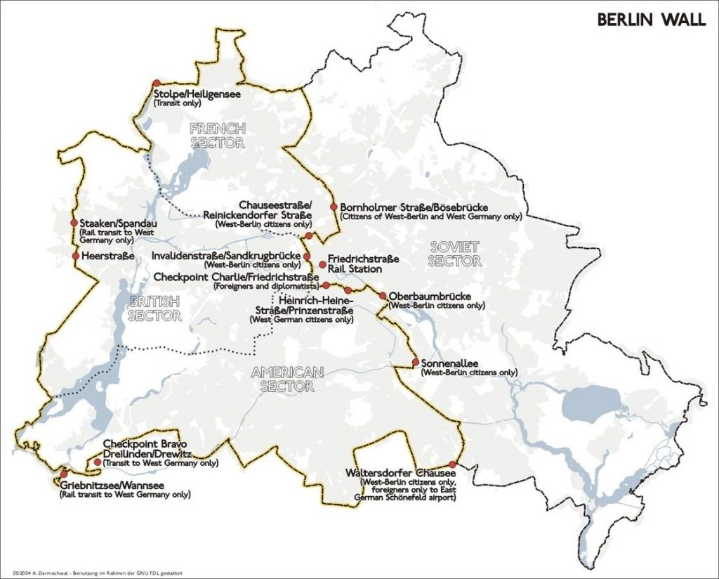 Map of Berlin showing the location of the Berlin Wall and the border crossings between West Berlin and East Berlin/East Germany.