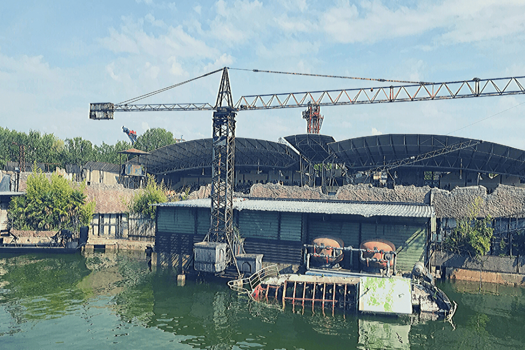 Stunt area at Movieland (viewed from the monorail studio tour): Italian amusement parks