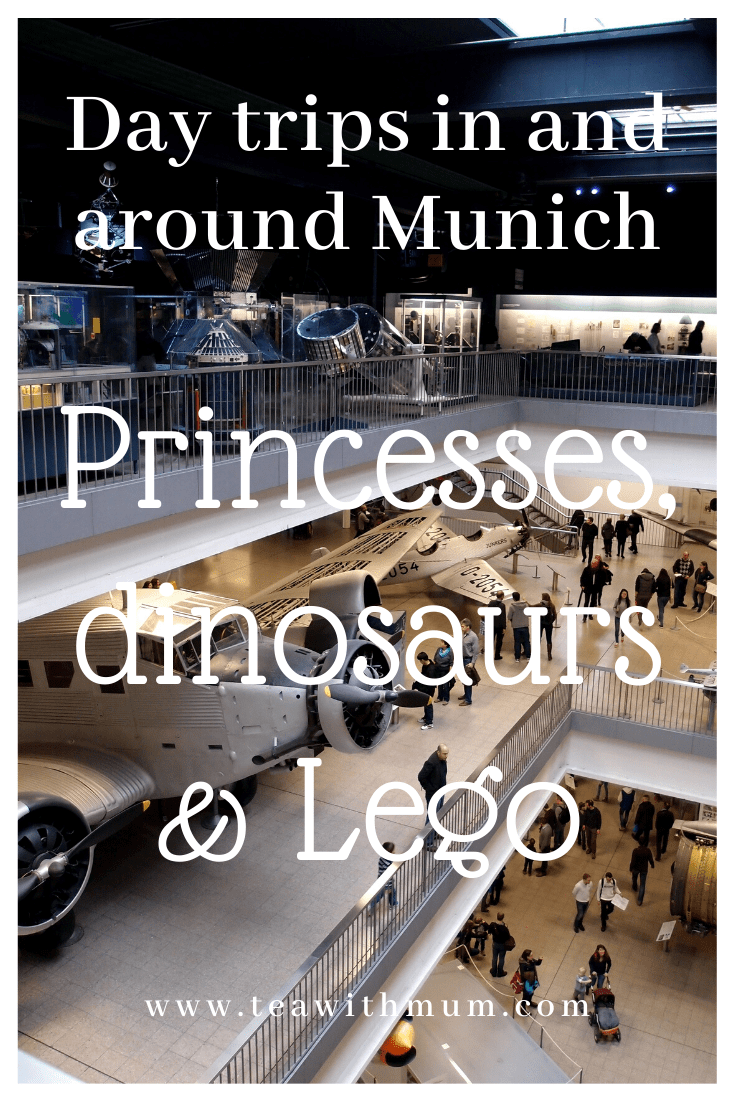 Castles, dinos and Lego: Day trips in and around Munich with kids. With image of the aviation and space section of the Deutsches Museum in Munich. What to do in and around Munich with kids.