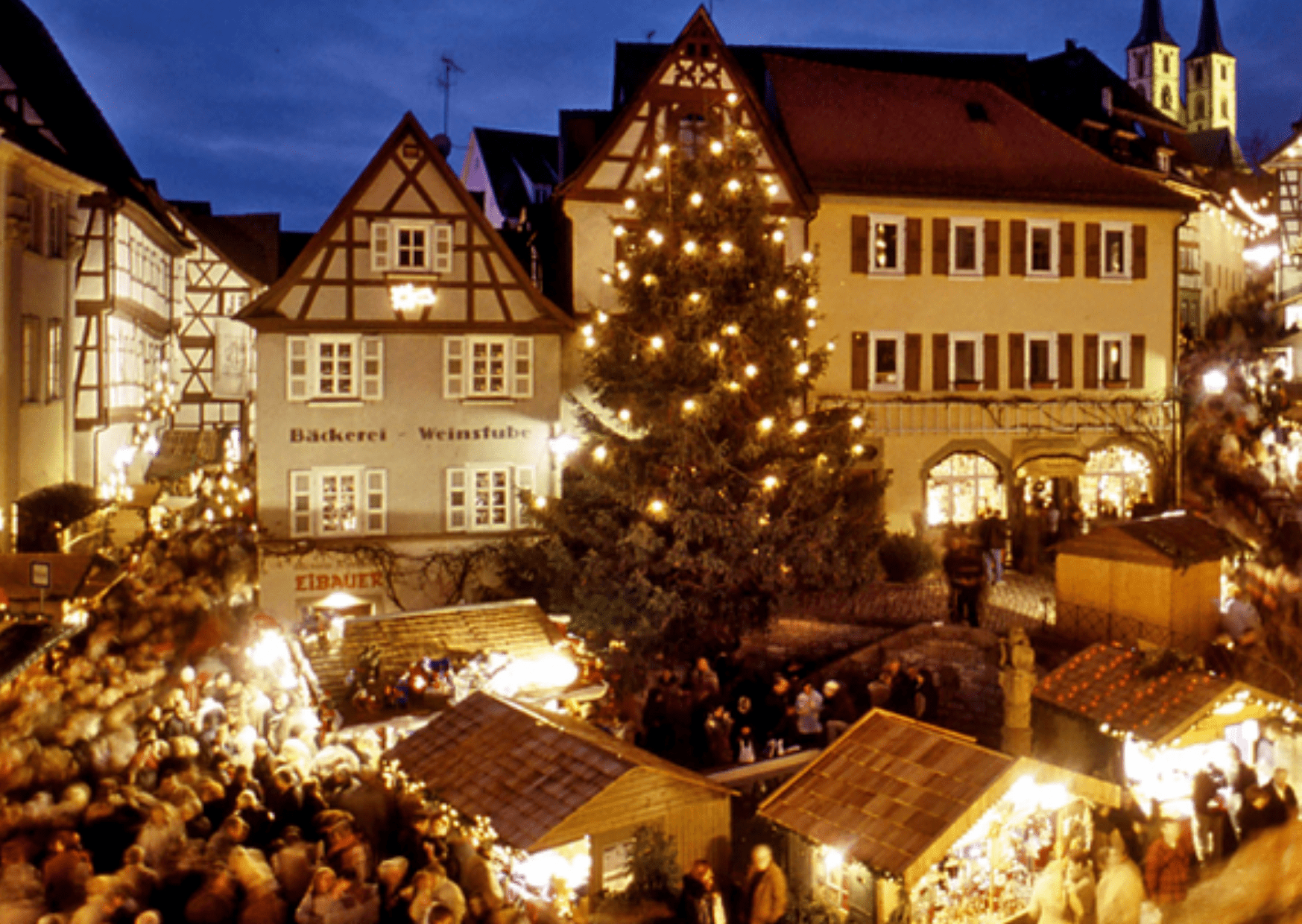 Bad Wimpfen Christmas market, the half-timbered houses of the town square make it one of the prettiest German Christmas markets