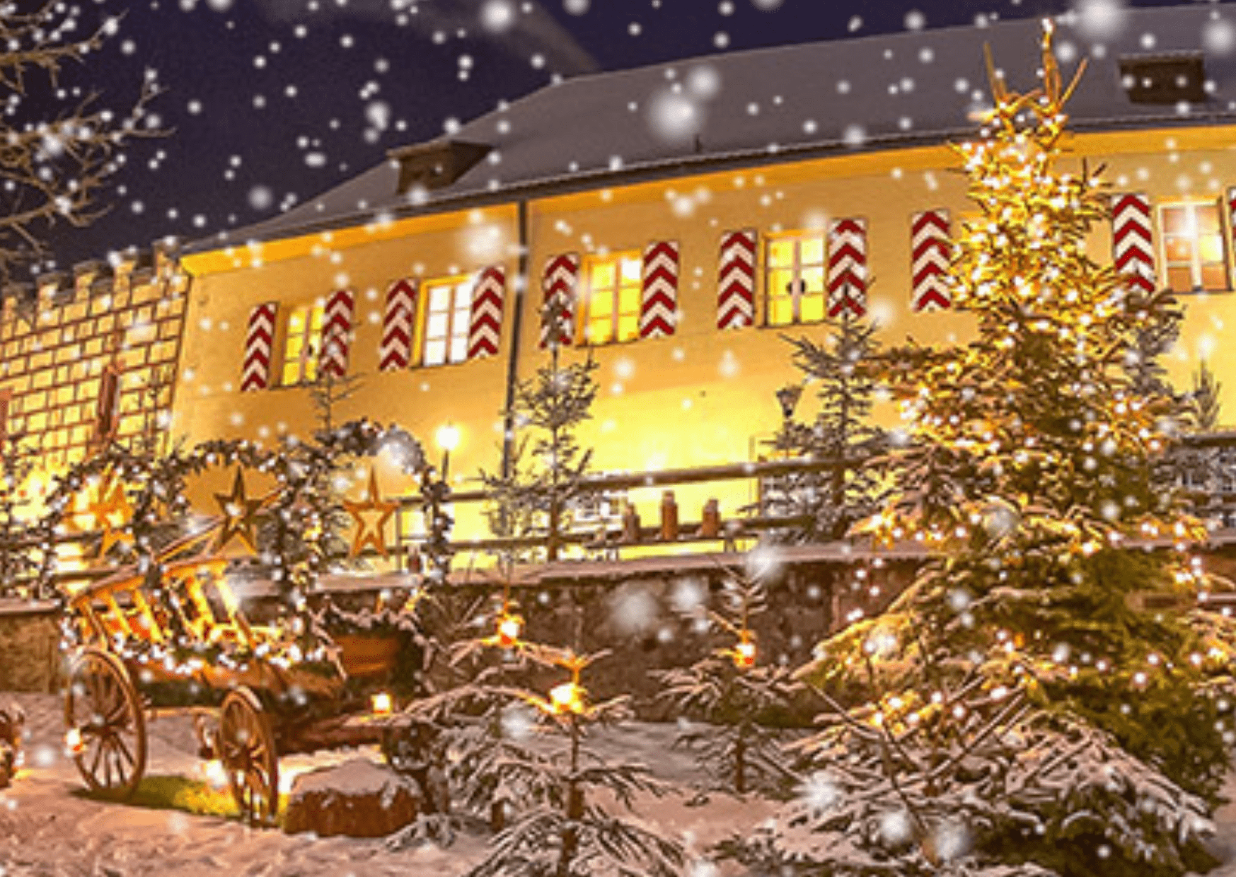 Christmas market (and snow) at Guteneck Palace, which has been voted best German Christmas market more than once.