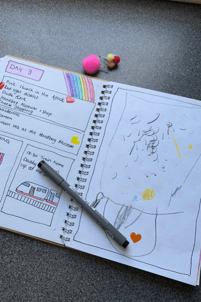 A DIY travel journal, the perfect DIY gift for a little traveller to use on their next trip and record their memories
