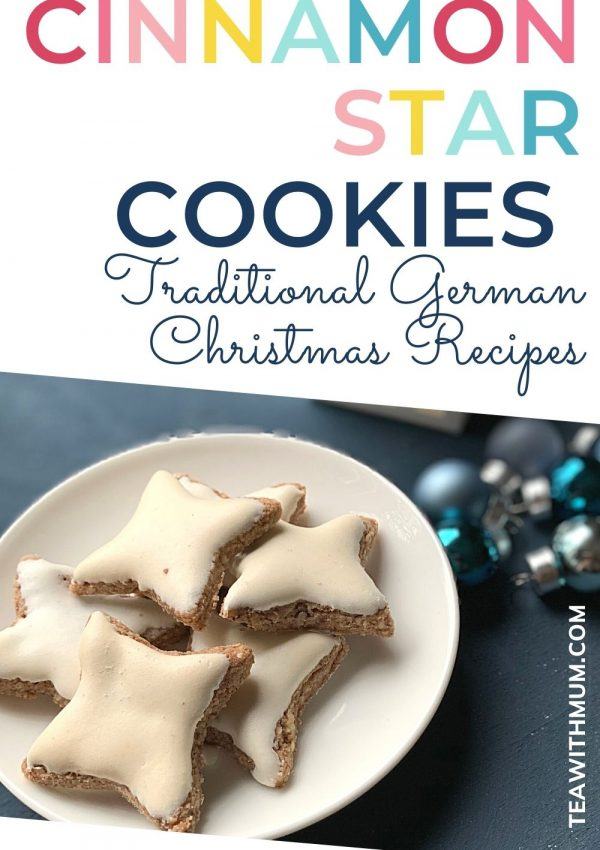 Pin - Cinnamon Star cookies: traditional German Christmas Recipes - with image of cinnamon star cookies