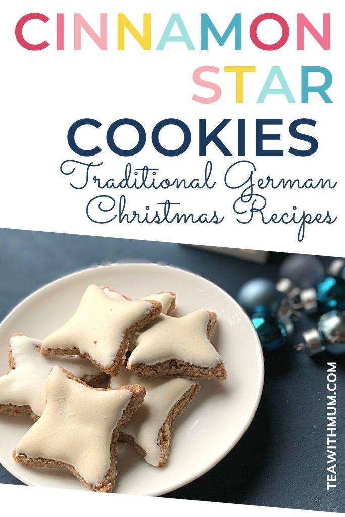 Pin - Cinnamon Star cookies: traditional German Christmas Recipes - with image of cinnamon star cookies