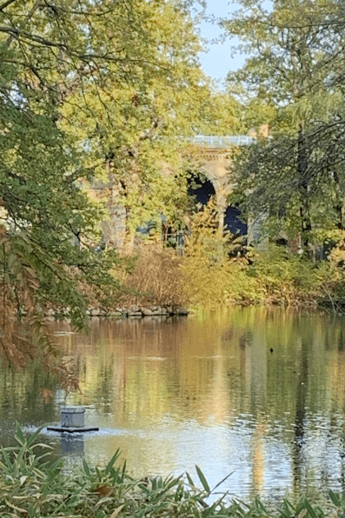 Photo of the view across the lake towards the Antilope House at the Berlin Zoo, a view that greeted Zoo visitors 175 years ago too.