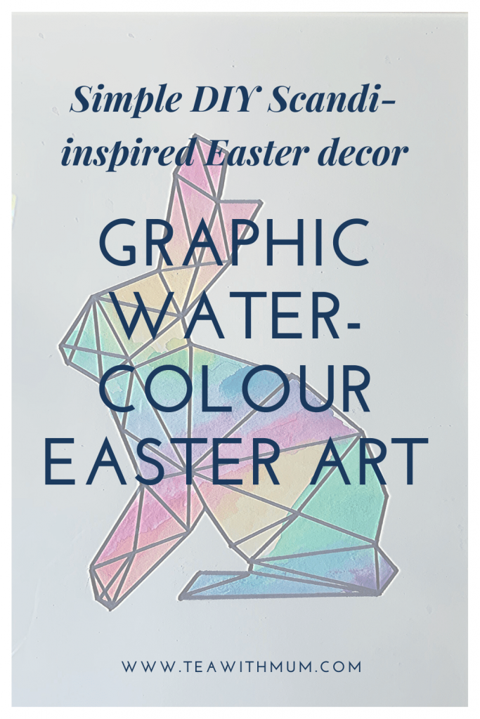 How to make your own simple and colourful graphic watercolour Easter art; watercolour Easter bunny; simple, Scandi-inspired Easter decor