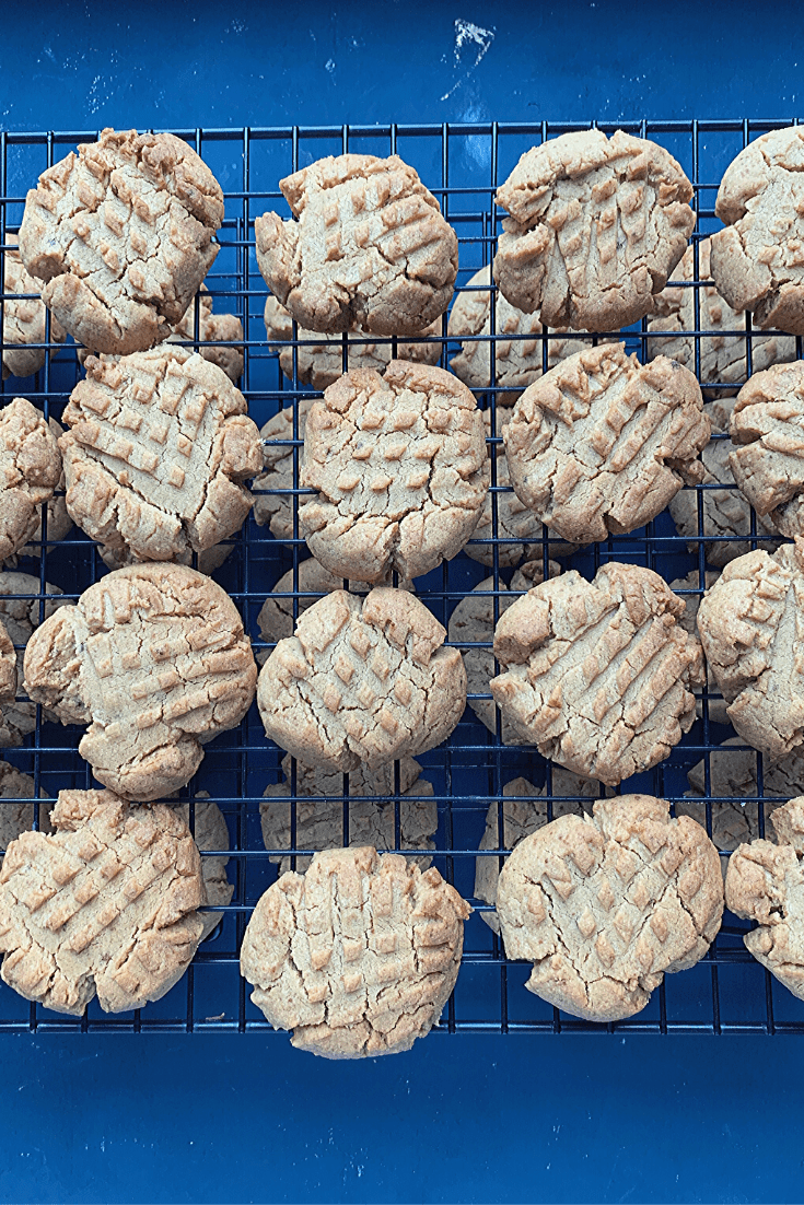 The best peanut butter cookies in the world: Grandma's peanut butter biscuits; biscuits cooling on the rack