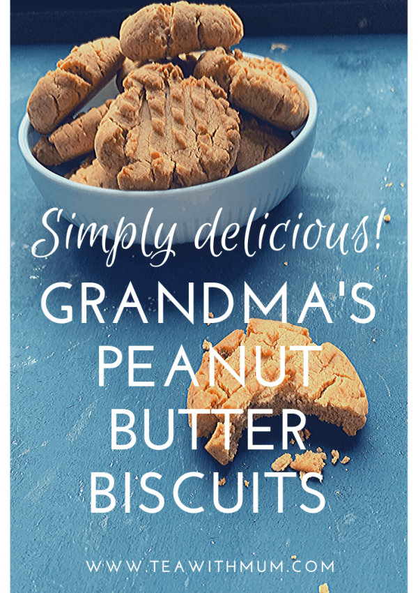 Simply the best: Grandma's peanut butter cookies; simple and delicious recipe from my Grandmother; bowl of biscuits and close up of a cookie