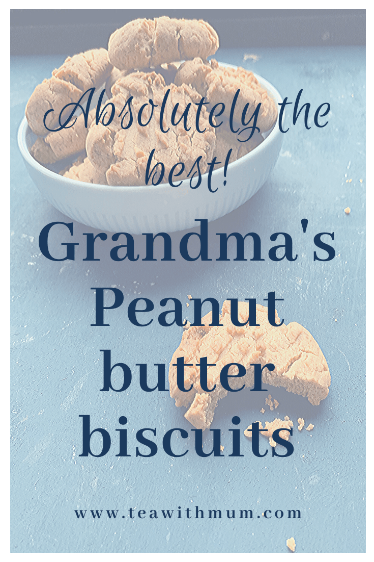 Absolutely the best: Grandma's peanut butter cookies; simple and delicious recipe from my Grandma; bowl of biscuits and close up of a cookie