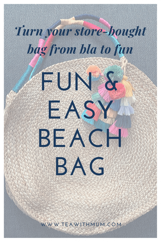 How to turn your store-bought beach bag from bla to a fun & easy beach bag; it takes almost no time and only a few things to make a simple beach bag your own