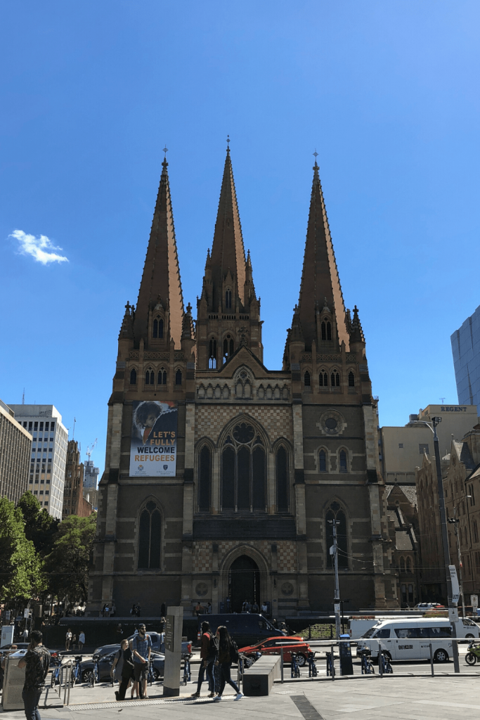 Number 5 of 13 fun things to do and see in Melbourne with kids: Take in the big sites - Flinders Street Station, Federation Square and St  Paul's Cathedral. Here, the comforting silhouette of St Paul's Cathedral, which reflects the style of many cathedrals in Europe.