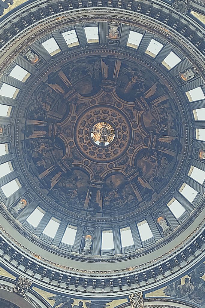 The famous cupola of St Paul's Cathedral and view towards the Whispering Gallery