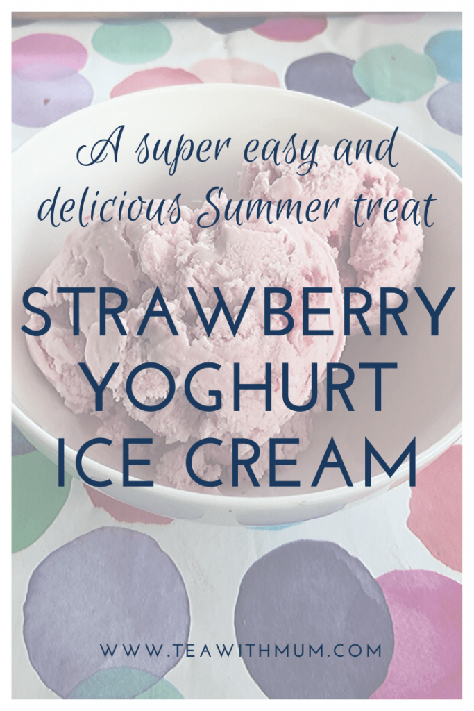 A super easy and delicious Summer feast: Strawberry yoghurt ice cream. The family was coming back for more and it was so simple our 3 year old did most of the work. Image of a bowl with three scoops of strawberry yoghurt ice cream.