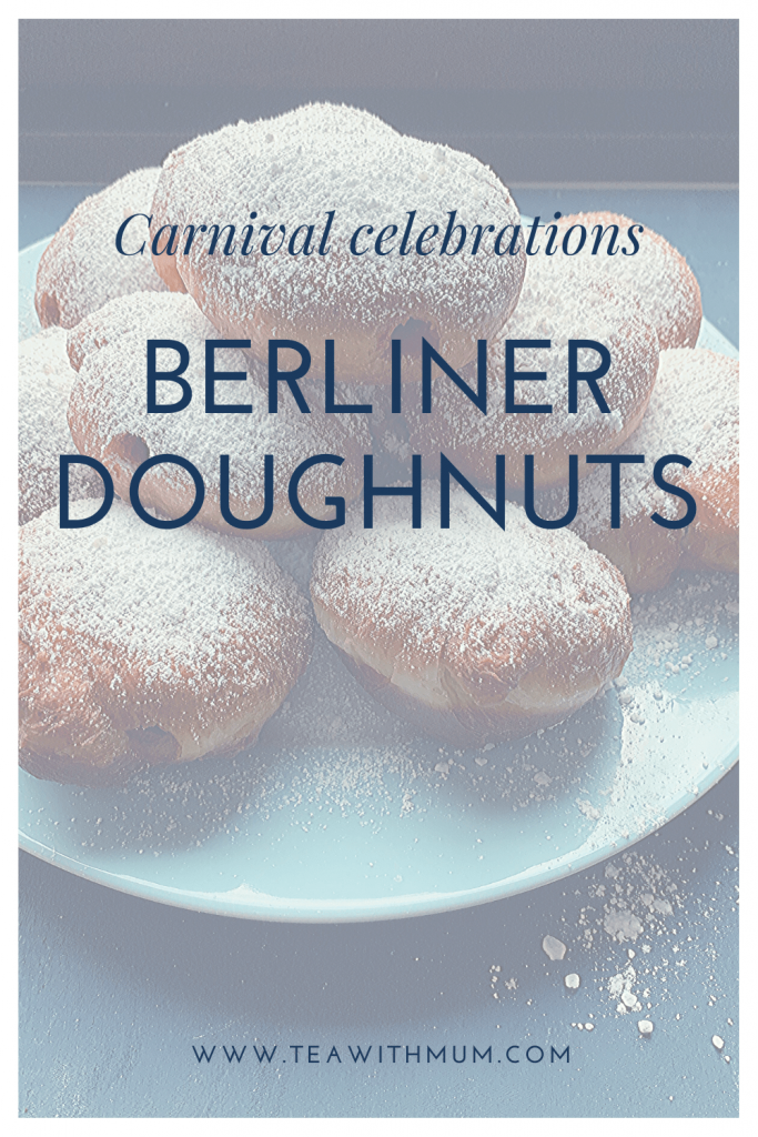 Fresh Berliner doughnuts on a plate, an easy recipe for these Carnival favourites; traditional German recipe; Try you hand at making them today!