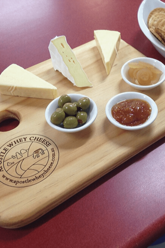 Some of the artisanal products to find in the area: cheese plate with three cheeses from Apostle Whey Cheese. Grab some and have a picnic on the Great Ocean Road with kids