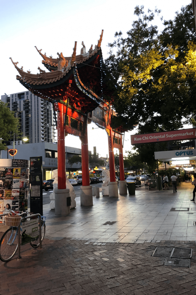Adelaide with kids: see the Chinatown gate and have something to eat at one of the many restaurants.