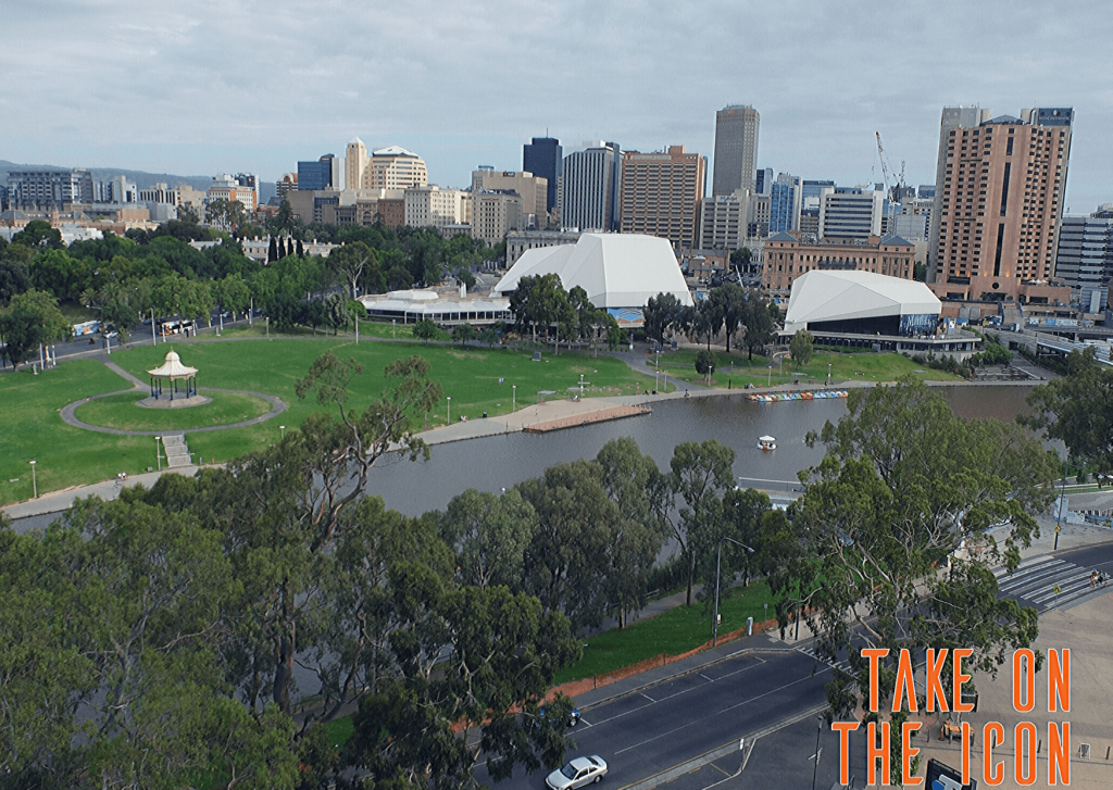Adelaide with kids: Elder Park and the Festival Centre from the roof of the Adelaide Oval. Image: Take on the Icon