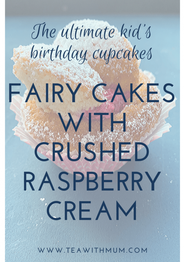 Fairy cakes with crushed raspberry cream: the ultimate kid's birthday party cupcake. Simple and simply delicious; make some today! Close up image of fairy cake with pink wrapper