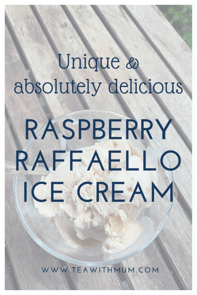 Raspberry Raffaello ice cream: absolutely delicious and unique; The final ice cream in our Ice ice, Baby! series; image of a bowl of raspberry Raffaello ice cream