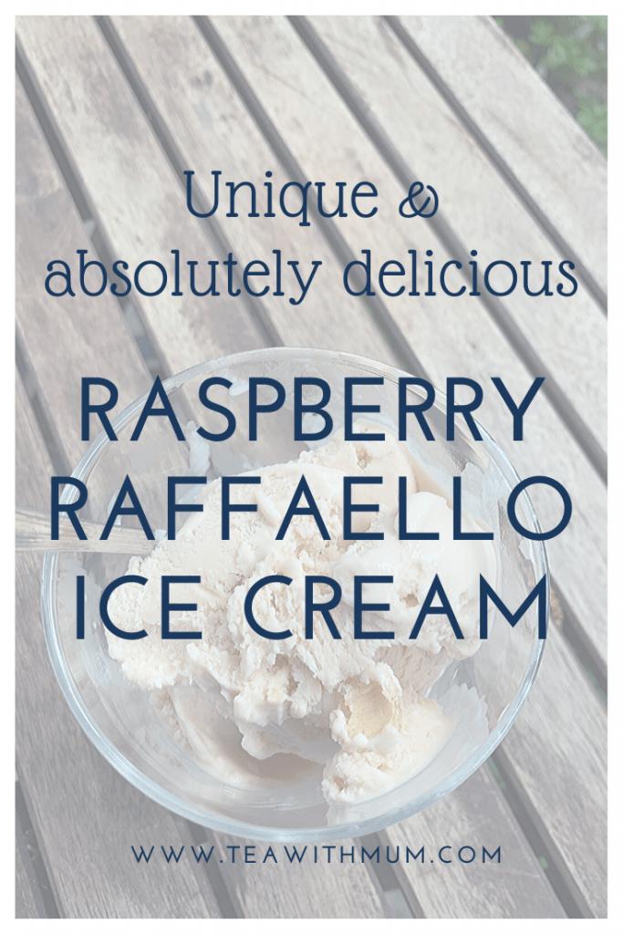 Raspberry Raffaello ice cream: absolutely delicious and unique; The final ice cream in our Ice ice, Baby! series; image of a bowl of raspberry Raffaello ice cream