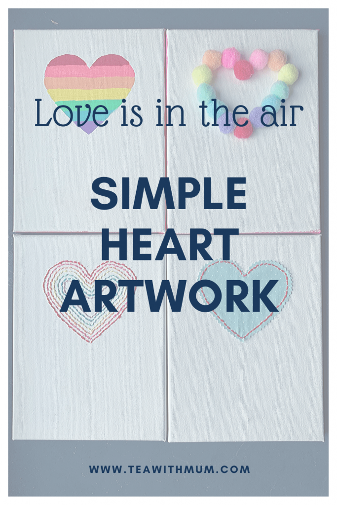 Simple heart artwork: Simple Valentine's Day art; Wedding Anniversary artwork; Love is in the air: Simple, cheap, fun, DIY heart decor: Image of 4 heart canvases