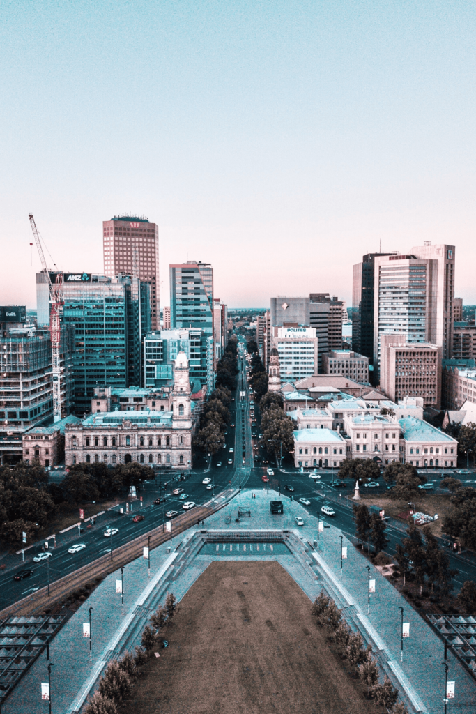 Aerial view of Victoria Square and down King William Street towards North Terrace; photo Finn X on unsplash