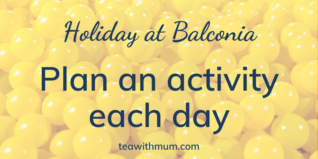 Holiday at Balconia: Plan an activity each day: image of yellow plastic balls