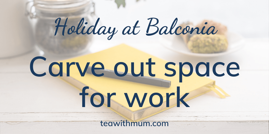 Holiday at Balconia: Carrve out some space for work: image of yellow notebook and pen