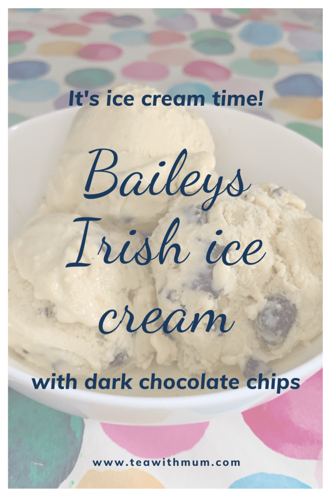 It's ice cream time! Baileys Irish ice cream with dark chocolate chips. An adults-only treat. Image of a bowl with three scoops.