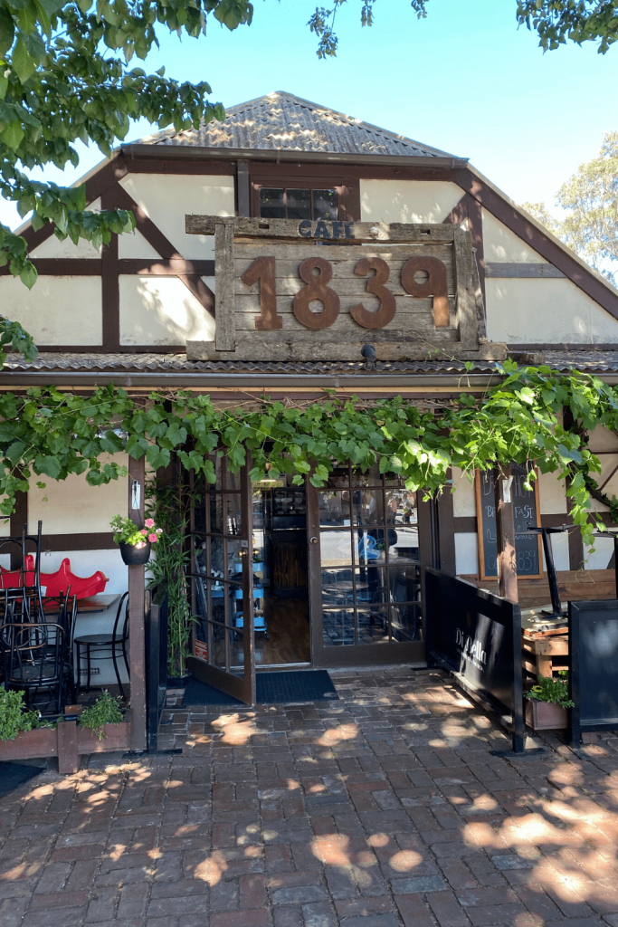Cafe 1839, with a building built in 1839 in traditional German Fachwerk style